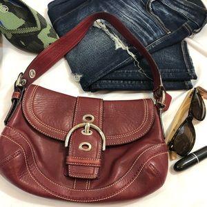 Coach Soho Red Leather Buckle 10909 purse handbag